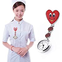 JZV AYSMG Smile Style Portable Alloy Nurse Round Quartz Wristwatch Watch with Pin(Red)