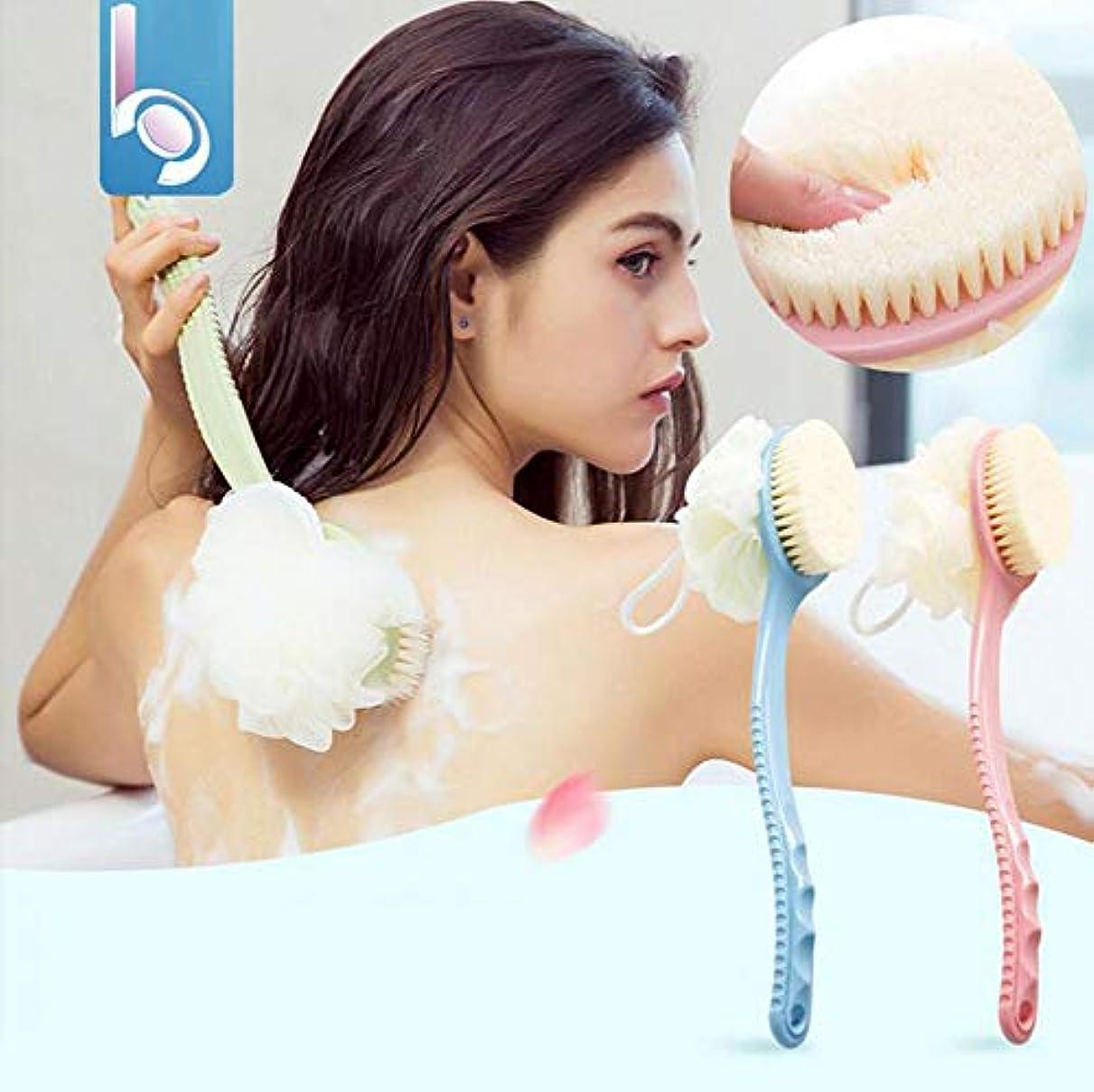 ロングハンドルバスブラシ、ソフトファーバスタオル入浴バックセルライトスクラブのための入浴アーティファクト,Pink