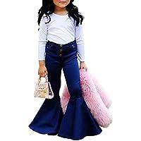 luethbiezx Little Girls Denim Jeans Bell-Bottom Toddler Kid Ruffle Flare Pants Leggings Trousers
