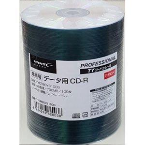 業務用 TYコードシリーズ HIDISC CD-R データ用 48速 700MB 銀盤 ノンプリンタブル シュリンクパック 100枚 TYCR80YS100B
