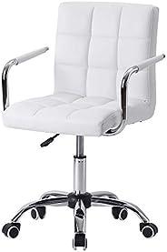 【Amazon.co.jp限定】Hinces by OSJ デスクチェア ホワイトPUレザーアルミナムチェア肘掛け椅子 キャスター付き 360度回転 上下昇降機能ルミナムチェア
