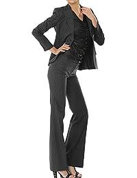 パンツスーツ リクルートスーツ レディススーツ チャコールグレー ストライプ 就活 17号 上下別サイズ対応スーツ