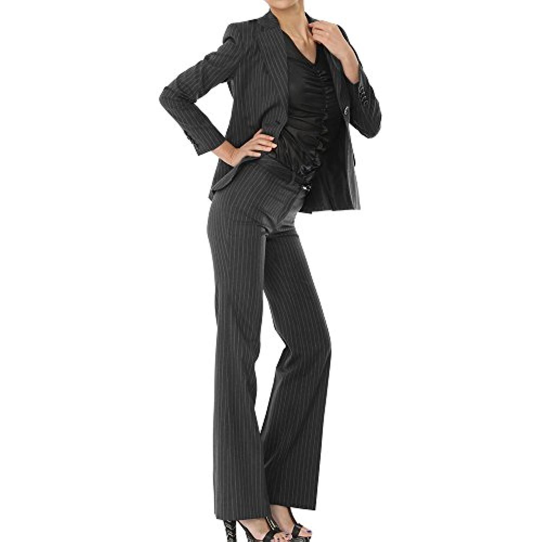 パンツスーツ リクルートスーツ レディススーツ チャコールグレー ストライプ 就活 15号 上下別サイズ対応スーツ