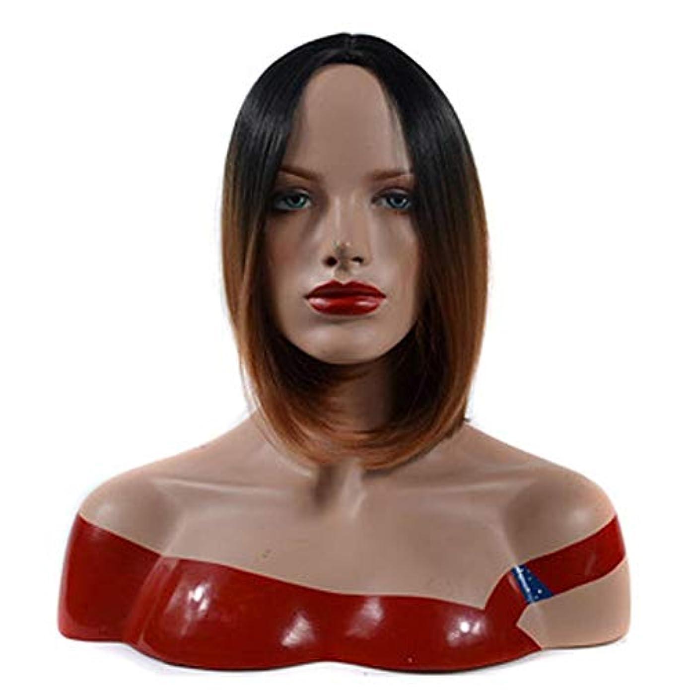 フットボール発明糞WASAIO スタイル交換用ショートヘアボブウィッグ女性コスプレパーティードレス用黒髪ルートライトブラウンアクセサリー (色 : 淡い茶色, サイズ : 30cm)