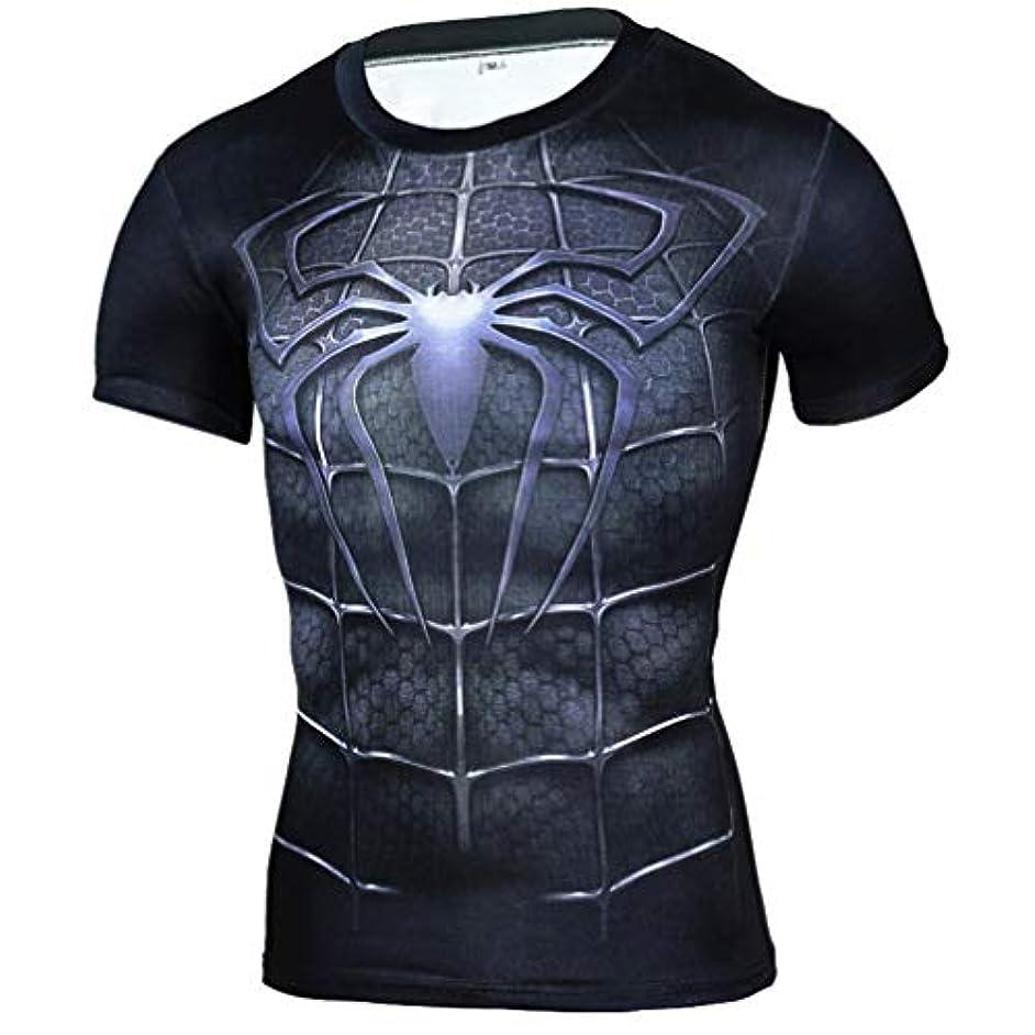 押し下げる帝国主義解任メンズ Tシャツ半袖 Spider Manスパイダーマン吸汗速乾 コンプレッションウェア パワーストレッチ アンダーウェア