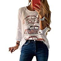 neveraway Women's Floral Print Round Neck Long Sleeve Casual Trendy Tees