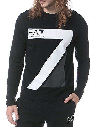 (エンポリオ アルマーニ イーエーセブン) EMPORIO ARMANI EA7 フロント ビッグプリント クルーネック 長袖 Tシャツ [【EA6YPTC3PJ03Z】] ブラック / L [並行輸入品]