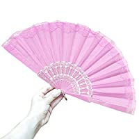 サテンのレースのファン中国風のレースの手持ち型の折りたたみファンのダンスパーティーの結婚式の装飾 ファン、装飾ファン、レトロファン、ダンスファン ダンスの結婚披露宴のレースの絹の折る手持ち型の花ファンF