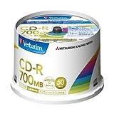 三菱化学メディア CD-R 700MB PCデータ用 48倍速対応 50枚スピンドルケース印刷可能ホワイトレーベル SR80FP50V2