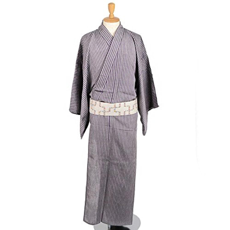 ひでや工房 メンズ 綿麻着物 浴衣 紫縞