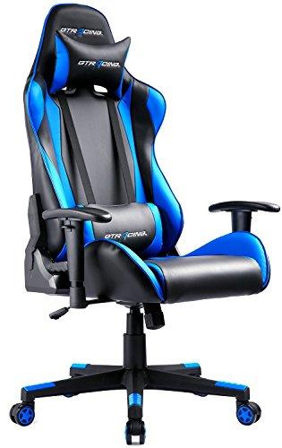 GTRACING ゲーミングチェア オフィスチェア 多機能 ゲーム用チェア リクライニング パソコンチェア ハイバック ヘッドレスト 腰痛対策 ランバーサポート ひじ掛け付き レザー GT002 ブルー