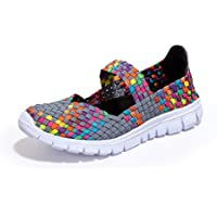 Ginjang Women Slip-On Walking Shoes Woven Elastic Mary Jane Flat Lightweight Fashion Sneakers