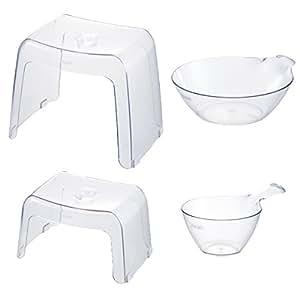 カラリ 腰かけ20H 30H お風呂4点セット 親子 バスチェア 湯おけ 手おけ (ナチュラル)