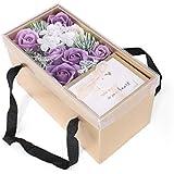 生地と花石鹸の花 バスソープフラワーローズフラワーバレンタインデーのために必須ガールフレンド記念日誕生日母の日ポータブルギフトボックス (色 : 紫の)