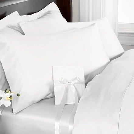R.T. Home - エジプト高級超長綿ホテル品質ワイドシングル ロング サイズ155x220CM 掛け布団カバー 600スレッドカウント サテン織り ホワイト(白) 155*220CM