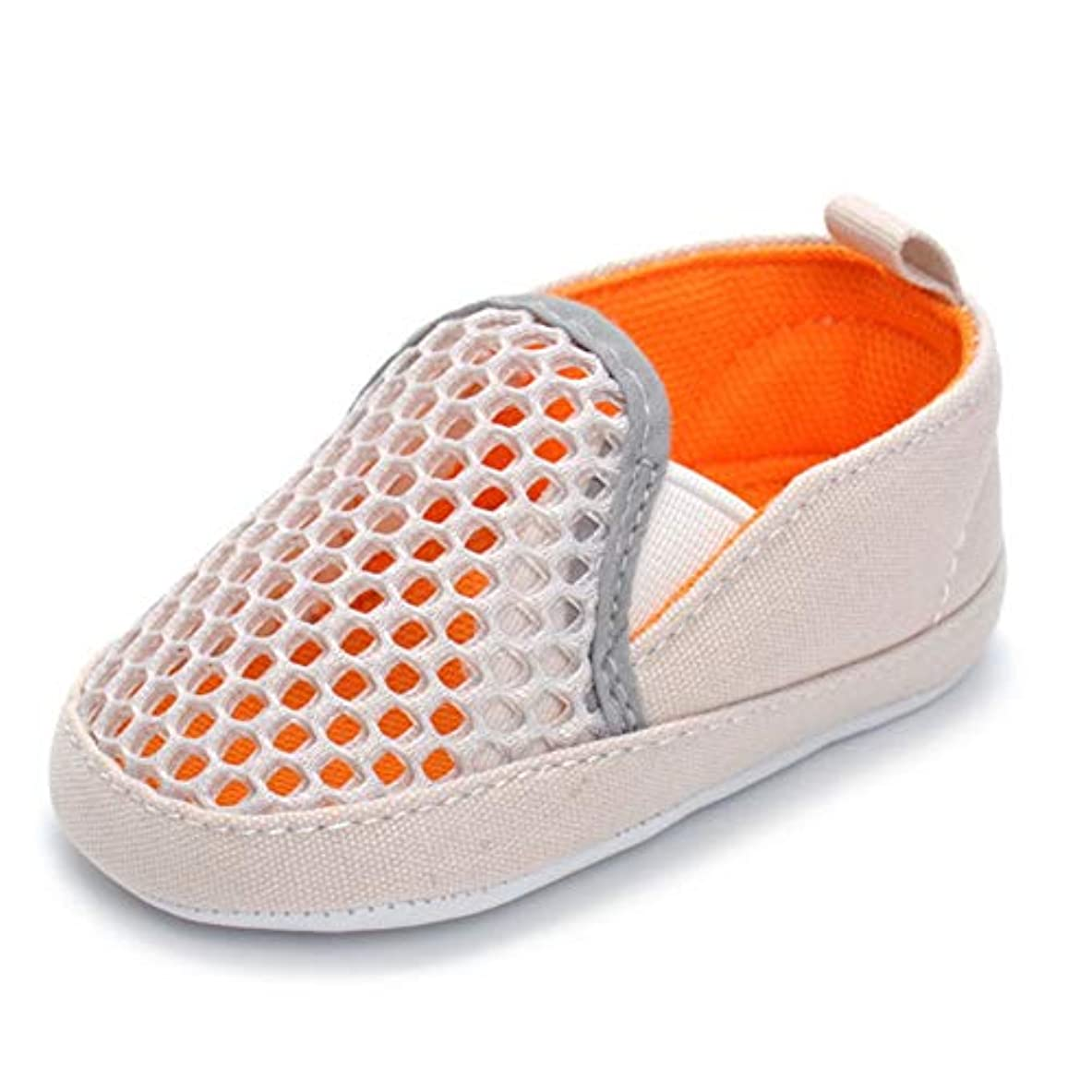 カウンターパートサンダーそうでなければQINJLI ベビーシューズ、 オレンジメッシュ通気性0-1歳の赤ちゃんの幼児の靴柔らかい底のスリップライトと快適