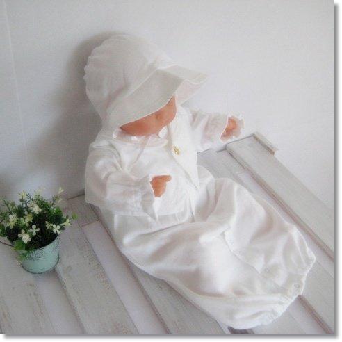 男の子用 春秋素材 日本製 タキシードデザイン 新生児 お宮参り退院時用 お帽子付き ベビードレス2点セット