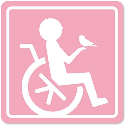imoninn 障害者マーク 【マグネットタイプ】 車いすサイン・福祉車両用 (ピンク色)