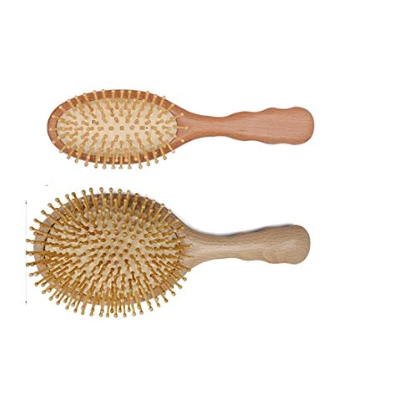 残り前者カリキュラムGuomao 人のための木製の剛毛のマッサージの頭皮の櫛が付いている木製のゴム製ヘアブラシ10inch (サイズ : L)