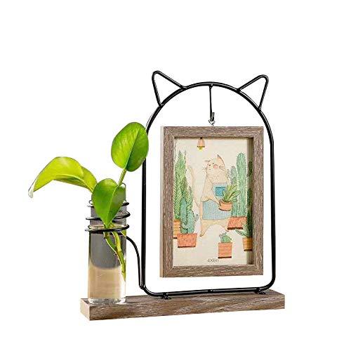 vxiss 額縁 フォトフレーム ナチュラル 木製 プレゼント ブラウン はがき 植物栽培可 写真立て 置き 猫 かわいい 17.5*12.5cm(キャット)