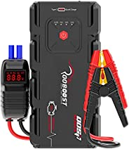 Rooboost™ 2000A Peak Extreme Safe Car Jump Starter (Up to 10L Gas or 8L Diesel), USB Quick Charge 3.0, Digital