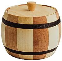 蓋付き2色木製ソルトボックス - 12オンスハードウッドスパイスジャー - 装飾的なドライハーブコンテナと防湿シュガーストレージボックス - 安全で健康的で耐久性のある塩貯蔵容器 キッチン用木製容器