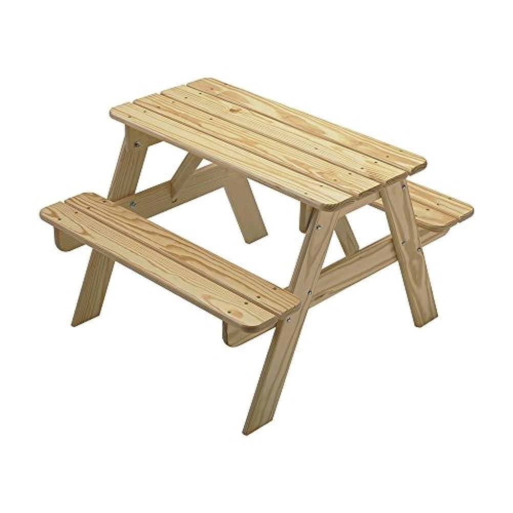国民投票極小管理しますリトルコロラド子供用ピクニックテーブル、木製ピクニックテーブル、ポータブルピクニックテーブル、Sanded /未完成