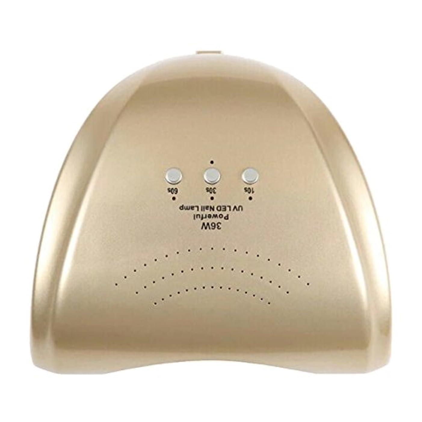 ハードリング社会主義者光のLa Curie 36W LED&UVネイルライト CCFL不使用 自動センサー ジェルネイル レジン 6ヶ月保証&日本語説明書&プロネイリスト監修ネイルレシピ付き 全9色 (ゴールド) LaCurie004