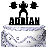 Personalized Cake Topper -A Man is Weightlifting Athlete Personalized Name Cake Decoration