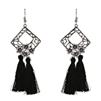 LKJASDHL ファッションヴィンテージゴールドフラワーイヤリングタッセルイヤリングイヤリング女性ギフトメッキシルバー用女性女の子女の子真珠のイヤリング付き (色 : 黒)