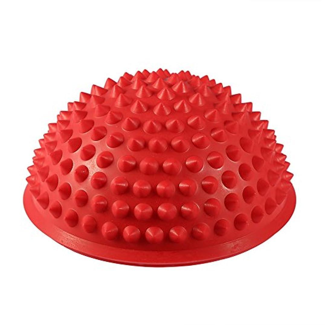 防腐剤治世塊ハーフラウンドPVCマッサージボールヨガボールフィットネスエクササイズジムマッサージ5色(レッド)
