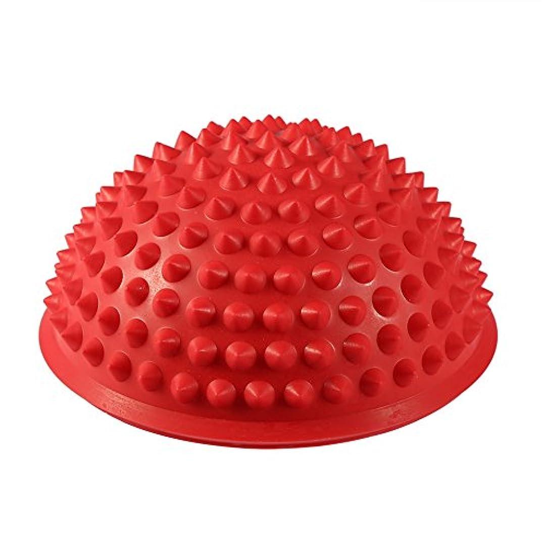 振動するチャップ亡命ハーフラウンドPVCマッサージボールヨガボールフィットネスエクササイズジムマッサージ5色(レッド)