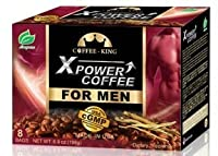 x-powerメンズのコーヒーインスタントTongkat Ali人参コーヒーAll Natural Male Enhancementエネルギーブースティング、8バッグ