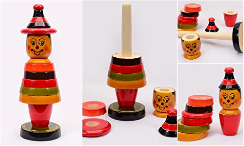 ハンドメイドクラウンWooden Stacking Toy for Kids Bigサイズ9