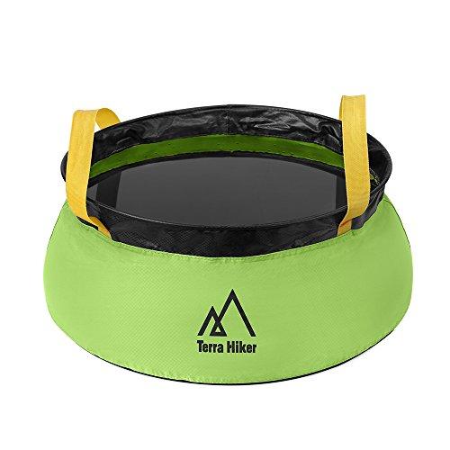 Terra Hiker バケツ 折り畳み 10L 超軽量 78g ポータブル 収納袋付き アウトドア 水汲み キャンプ 洗車 釣り グリーン