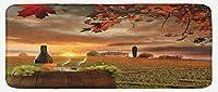 Lunarable Winery キッチンマット ホワイトワイン バレル付き イタリアのチアンティトスカーナ州サンセットにあるブドウ畑 豪華な装飾キチェンマット 滑り止め裏地付き 幅47インチ×長さ19インチ アップルグリーン オレンジ ブラウン