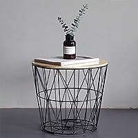 アイアンアートリビングルームコーヒーテーブル収納付き、工業用ソファコーナーテーブル、木製ラウンドテーブル付き幾何学収納バスケット (色 : 黒, サイズ さいず : 50cm)
