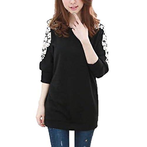 シャンディニー(Chandeny) 可愛さ 満点 ! 上品 パール 風 ビース 入り 花柄 レース チュニック 大人 レディース ファッション / ブラック & ホワイト / M L XL 大きい サイズ あります ! (ブラック&ホワイト, M)
