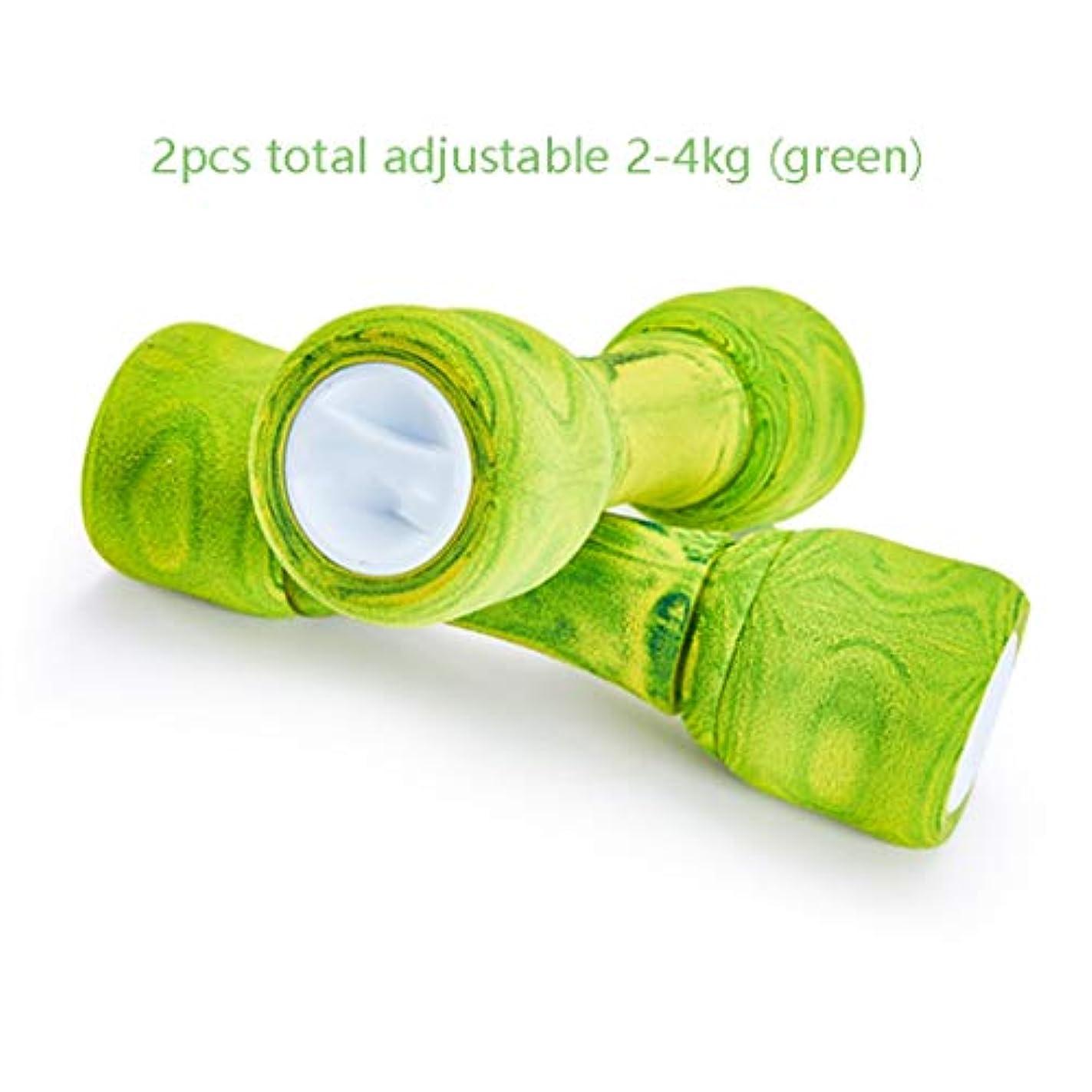 支店開発役に立たないヨガダンベル ペアで販売アジャスタブルキロヨガダンベル女性ペア三色薄い腕ホームヨガ女の子のフィットネス2?4キロ、 ダンベルカバー (Color : Green)