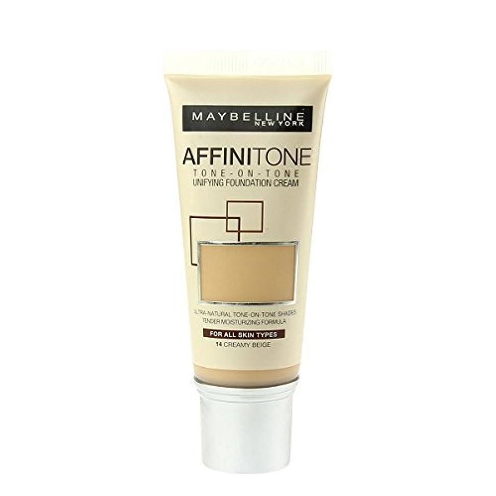 オーバードロー自由縮れたMaybelline Affinitone Perfecting & Protecting Foundation - 14 Creamy Beige by Maybelline