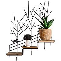 Super Kh® ヴィンテージ錬鉄製の古い木製の壁掛けラッククリエイティブ階段収納ディスプレイスタンドホームデコレーションラック *