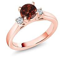 Gem Stone King 1.1カラット 天然 ガーネット 合成ホワイトサファイア (ダイヤのような無色透明) シルバー925 ピンクゴールドコーティング 指輪 リング