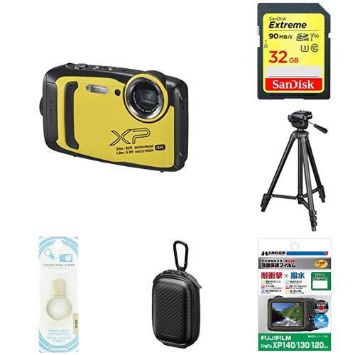 FUJIFILM 防水カメラ XP140 イエロー FX-XP140 + 5点セット(SDカード 32GB、液晶保護フィルム、カメラケース、リングストラップ、三脚)