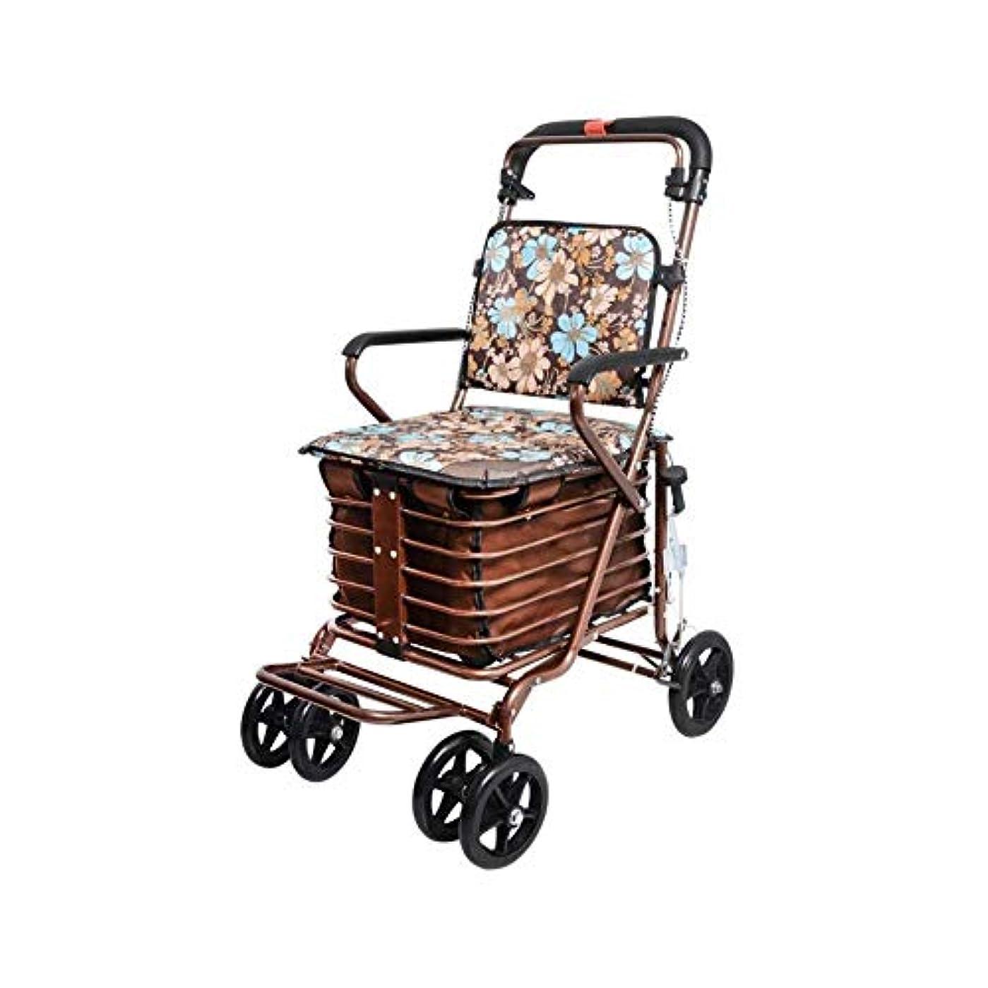 軽量の高齢者の歩行者、折る携帯用歩行器の補助歩行者の4つの車輪のショッピングカートハンドブレーキが付いている頑丈な歩行者 (Color : Color1)
