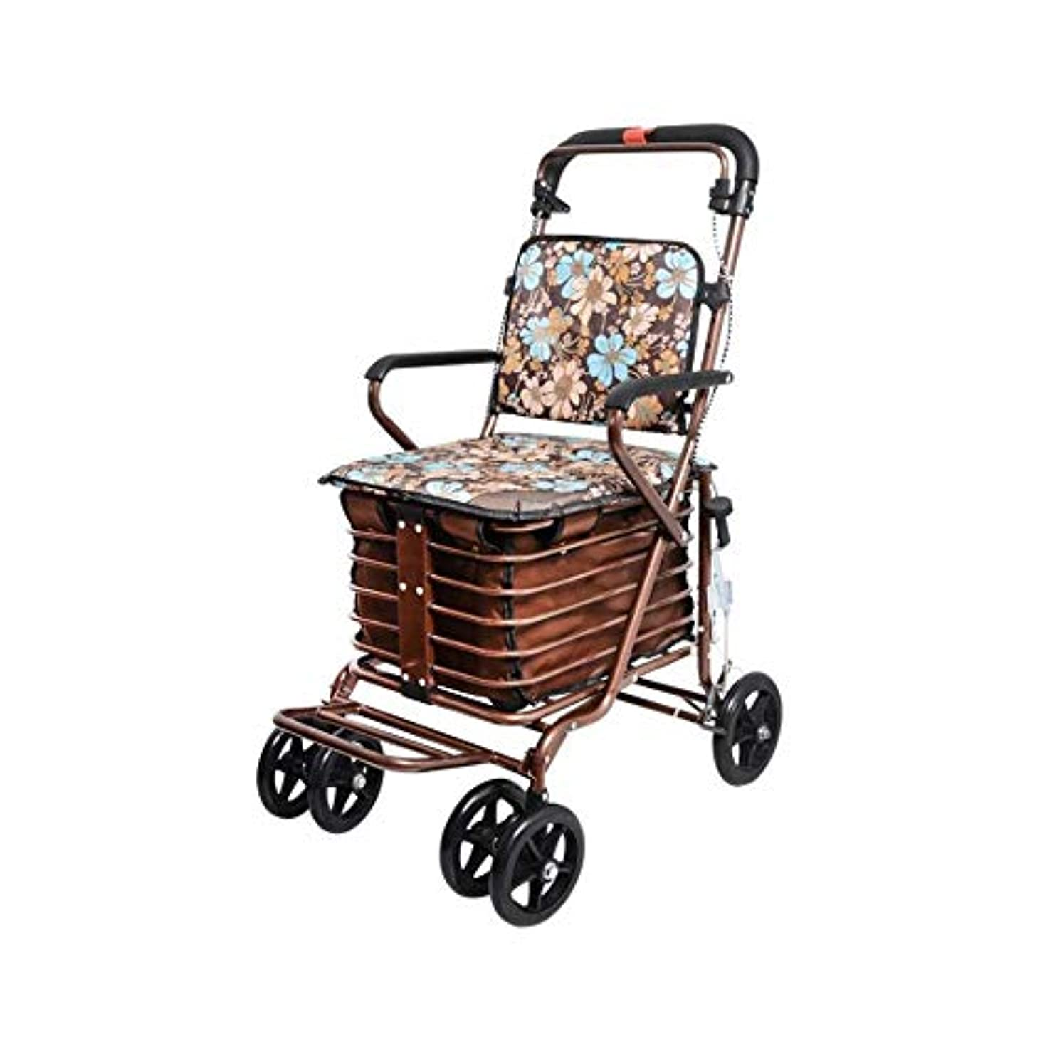 英語の授業がありますプライバシークレジット軽量の高齢者の歩行者、折る携帯用歩行器の補助歩行者の4つの車輪のショッピングカートハンドブレーキが付いている頑丈な歩行者 (Color : Color1)