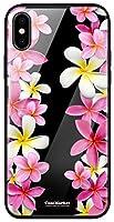 CaseMarket 背面強化ガラス TPUバンパー 背面ケース apple iPhone XS (iPhoneXS) プルメリア ロマンス ハワイアン 0049 全面保護 耐衝撃