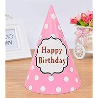 HuaQingPiJu-JP かわいい子供のアダルトパーティークリエイティブドレスアップ帽子シャープコーナー誕生日パーティーハット(ラウンドドット誕生日ピンク)