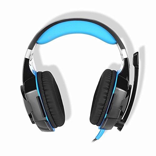 KOTION EACH【日本正規品】ゲーミングヘッドセット ヘッドホン 3.5mm コネクタ 騒音隔離 高集音性マイク付ゲーミングヘッドフォン プレイステーション4/3 PS4 PS3 Xbox 360 PC タブレット ノートパソコン iPhone スマートホンに対応全効能ヘッドバンド(ブラック&ブルー)