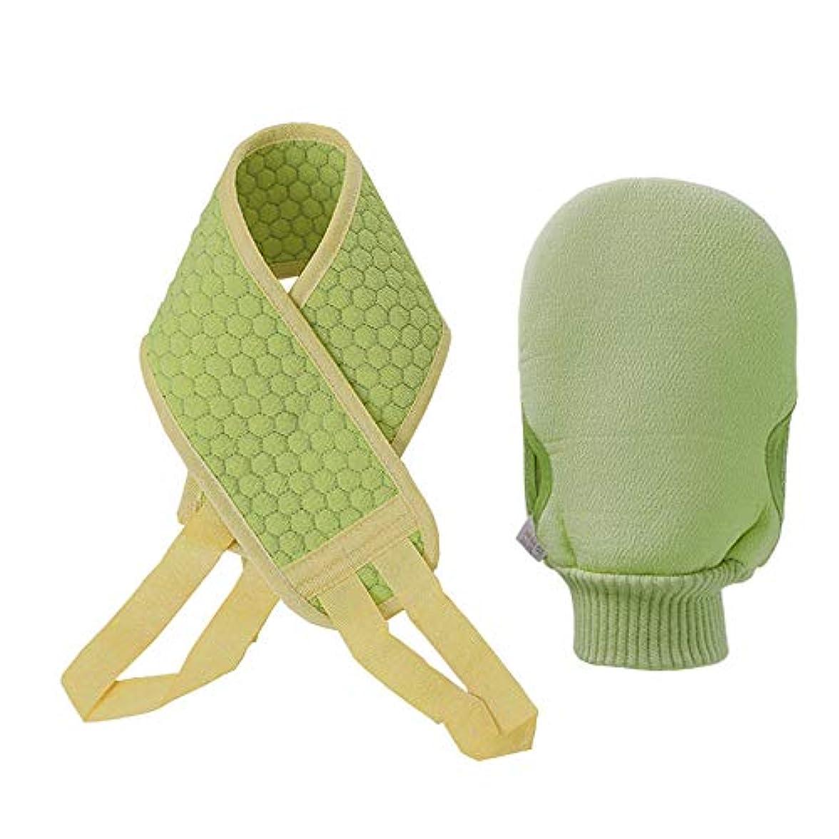 認知クリア男やもめバックスクラバー スポンジあかすり ボディタオル 垢すりタオル 背中洗い ボディブラシ バス用品 角質除去 男女兼用 天然へちま あかすり (green)