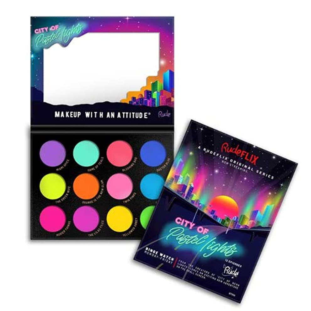動かない剥離マリンRUDE City of Pastel Lights - 12 Pastel Pigment & Eyeshadow Palette (並行輸入品)